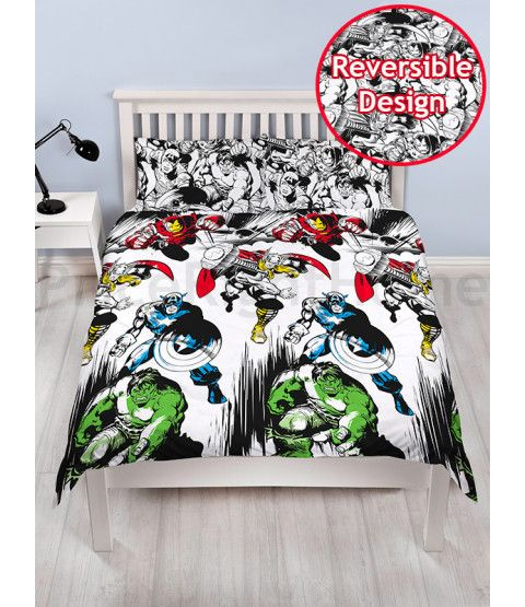This Marvel Comics Crop Double Duvet Cover and Pillowcase Set features Thor, Iron Man, Captain America and The Hulk. Free UK delivery available.