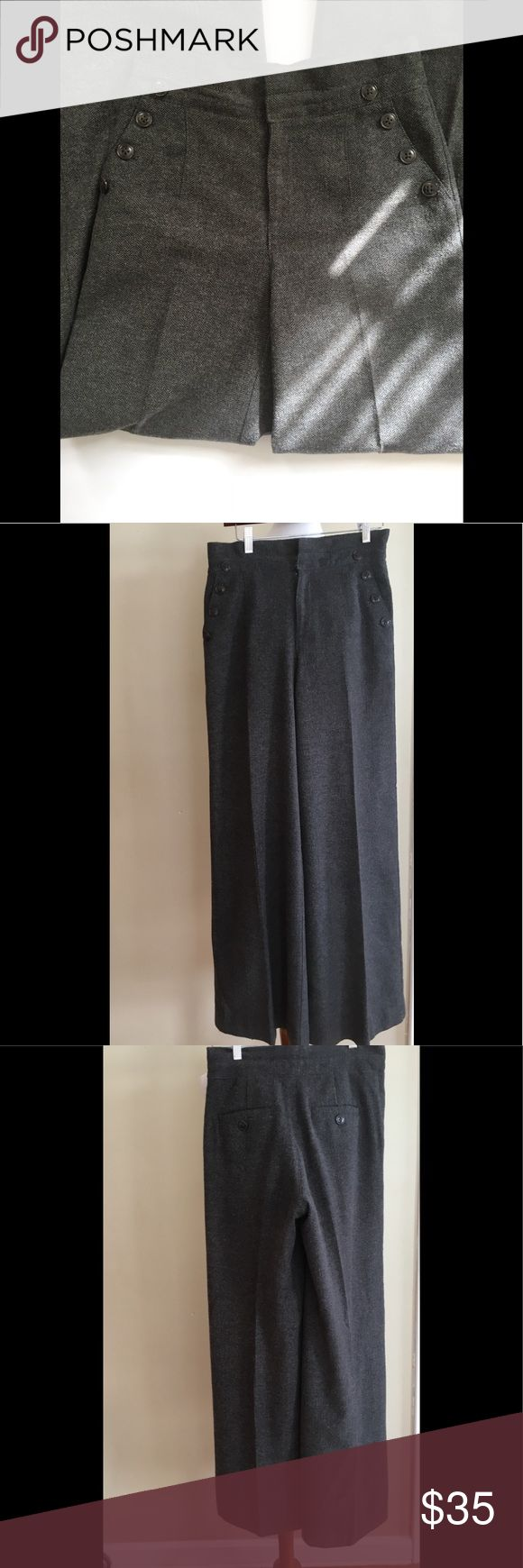 "Daughters of the Liberation wide leg trouser Fabulous high waist Herringbone wide leg trouser with nautical button detail . Functional pockets , fully lined . Approx measurements -waist 15"", rise 12"", inseam 32.5 Anthropologie Pants Wide Leg"