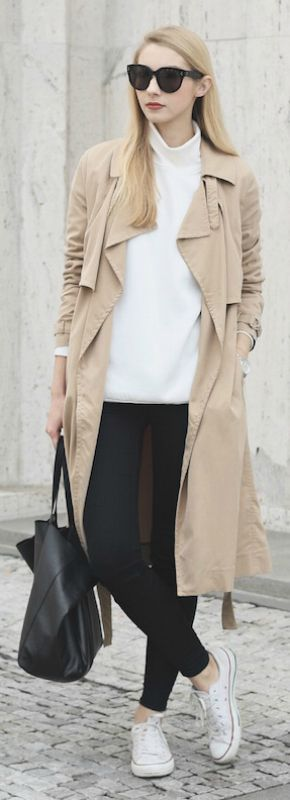 Beige is a new and upcoming trend this fall. Wear a pair of white converse with your beige item to create a pale contrast and steal Pavlína   Jágrová's sophisticated look.   Trenchcoat: Mango, Top: Other Stories, Jeans: Lindex, Shoes: Converse.... | Style Inspiration