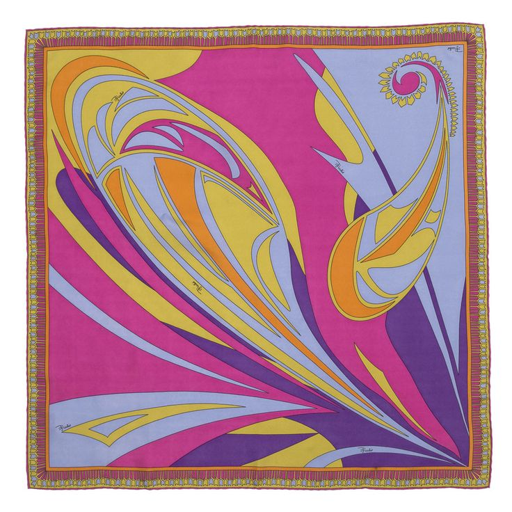 Emilio Pucci Scarves Swirl Paisley and Geometric Print Scarf (EP104)