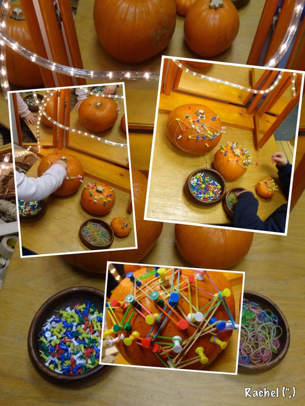 "funky fingers. finger gym. fine motor skills. Pumpkins, push pins, elastic & loom bands - from Rachel ("",)"