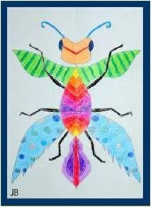 Fantasie-insecten tekenen met kleurpotloden, stiften kunnen ook. Symmetrie staat centraal. Geschikt vanaf groep 5/6.