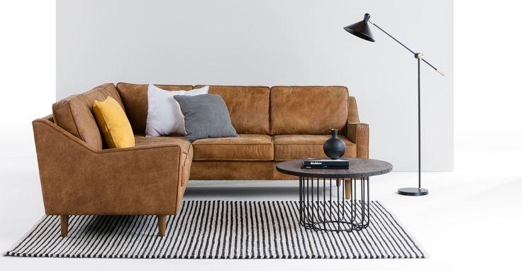 Dallas Corner Sofa, Outback Tan Premium Leather | made.com