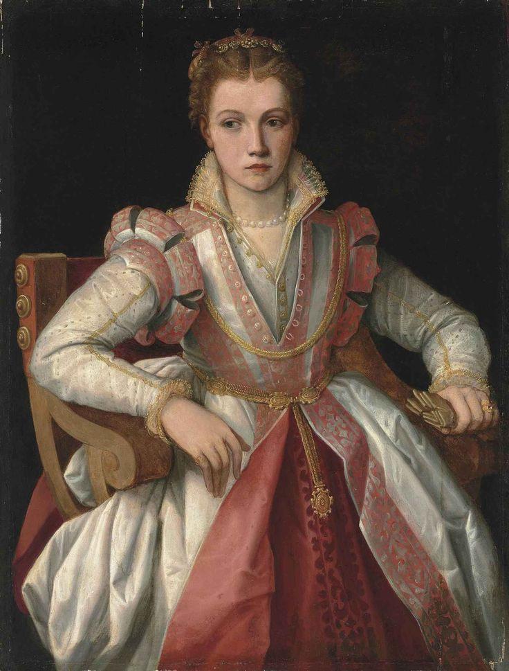 Portrait of a Lady in a white dress trimmed in pink, 16th century, artist was a follower of Francesco de'Rossi