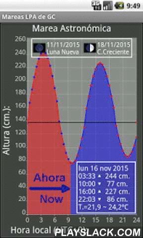 "LPA GC Tide  Android App - playslack.com ,  APPLICATION: Astronomical Tides port of Las Palmas de Gran Canaria (LPA GC), Canary Islands, Spain. (15.41° W 28.15° N). It is a tide and current prediction application. High & low tides http://en.wikipedia.org/wiki/Canary_Islands#Gran_CanariaAIMED AT: bather, surfers, swimmers and beach walkers ""Las Canteras"" (100 m. port LPA GC)METHOD:Astronomical tide prediction by harmonic constants and tide gage data 'Las Palmas 2 Spain'PROPERTY OF…"