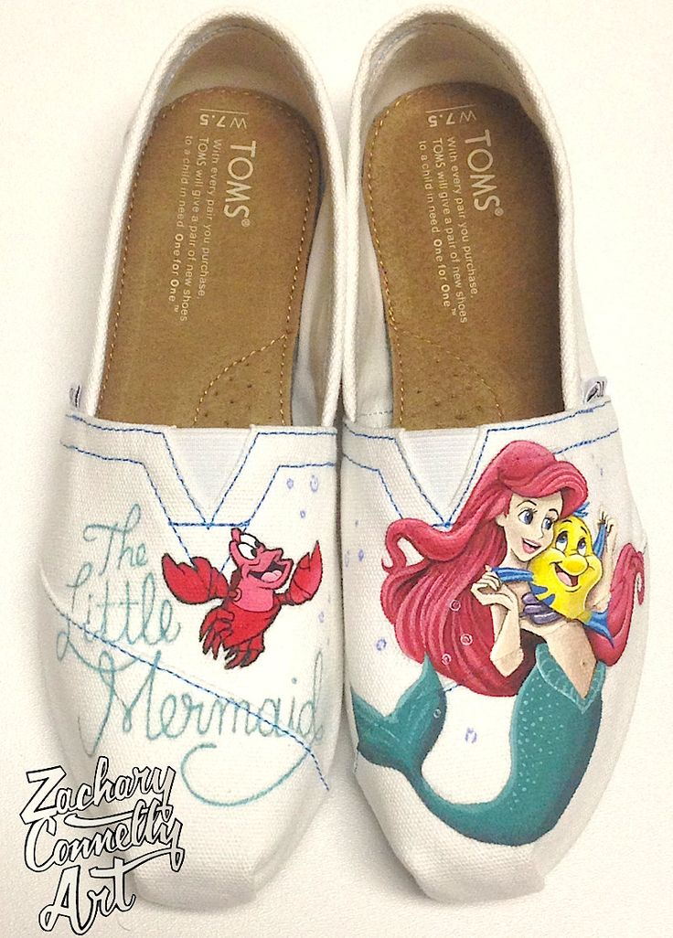 The Little Mermaid Disney Toms Shoes by ZacharyConnellyArt on Etsy, $275.00