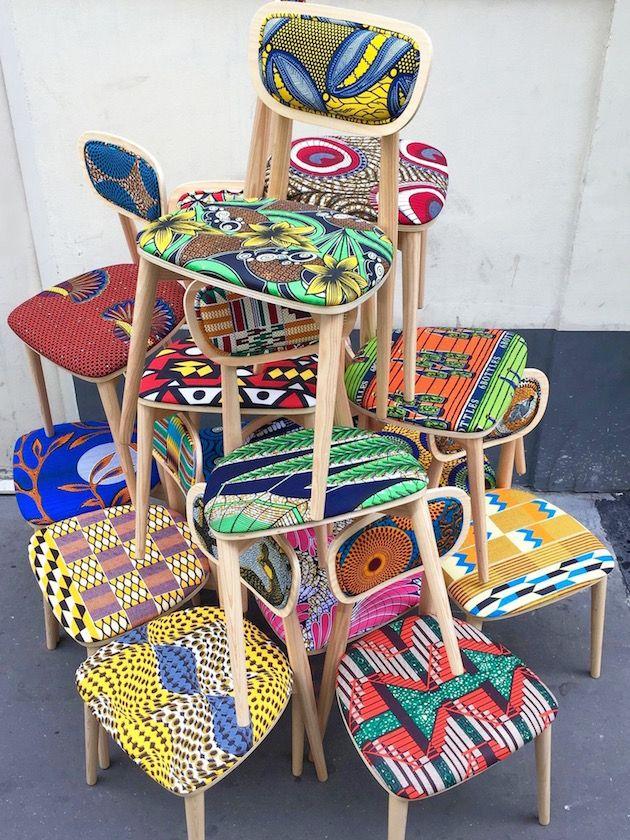 J'aime : l'originalité et la bonne humeur que dégagent ces chaises au tissu wax Chaise design tissu africain wax sandrine alouf