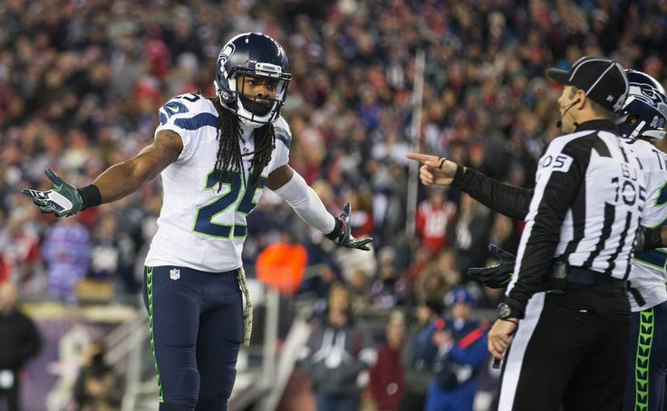 Seahawks vs. Patriots:  31-24, Seahawks  -  November 10, 2016  -  Seattle Seahawks cornerback Richard Sherman (25) argues with the refs during the fourth quarter. (Mike Siegel / The Seattle Times)