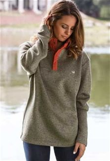 Southern Marsh The Fieldtec Woodford Snap Pullover in Sandstone and Burnt Orange