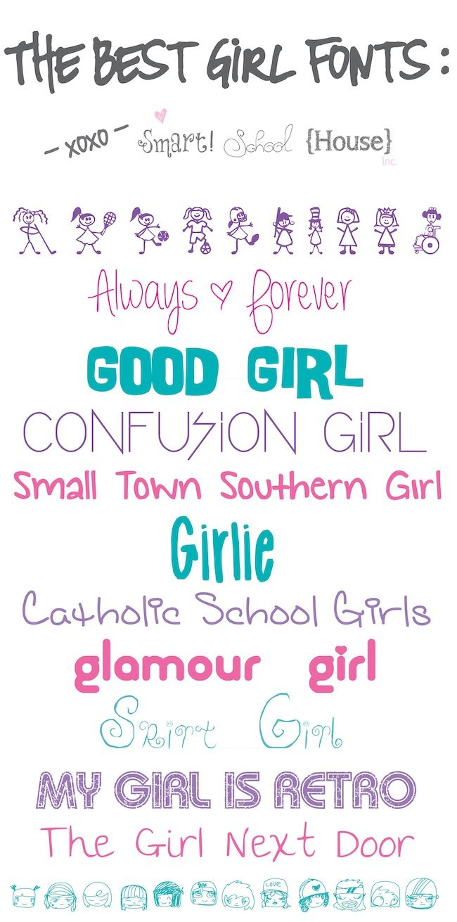 The Best Girl Fonts to Download Here is a collection of The Best Girl Fonts to Download that are FREE! Click Below to Download The Best Girl Fonts: {Girl Characters} {Always & Forever} {Good Girl} {Confusion Girl} {Small Town Southern Girl} {Girlie} {Catholic School Girls} {Glamour Girl} {Skirt Girl} {My …