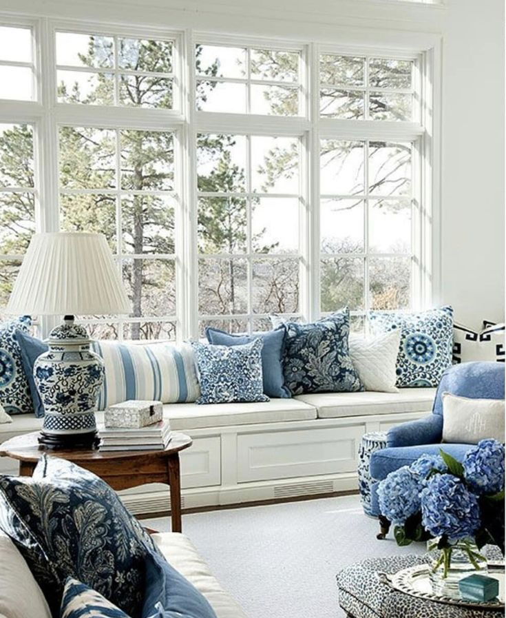#pillows #interiordesign | Blue living room, French ...