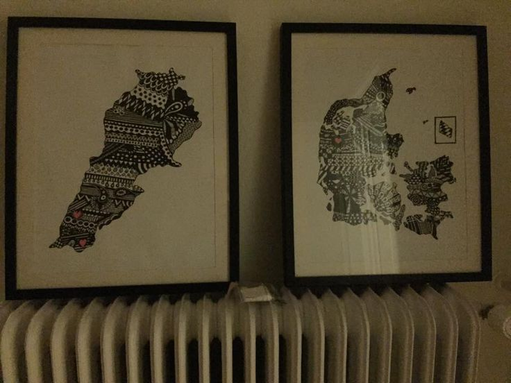 Zentangle art - This was a weddinggift to a 'Danish couple from Lebanon'. They was born and halfraised in Lebanon and now lives in Denmark and have lived here for several years. The one on The left is Lebanon and The one on The right is Denmark. The hearts is a symbol for where They live and comes from both ind Lebanon and in Denmark.  #PLKdesign