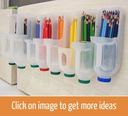 Smart way to keep pencils or other utensils / Идея для хранения карандашей или инструментов в старых пластиковых бутылках