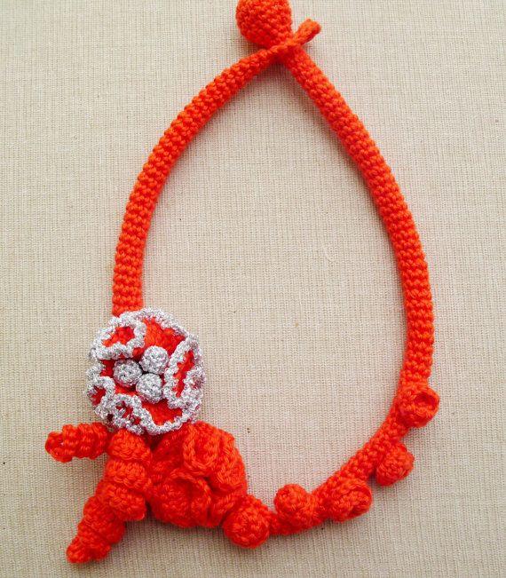Crochet necklace  Orange Weddings  Statement necklace by LindaLejn, $41.00