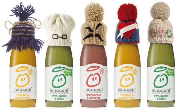 Innocent's joint packaging and social media Big Knit campaign encouraged consumers to make knitted hats to fit its smoothie bottles. Image courtesy of Innocent. - Image - Packaging Gateway