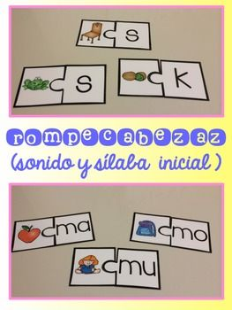 Los sónidos mágicos {Beginning Sounds and Syllables Centers in Spanish}