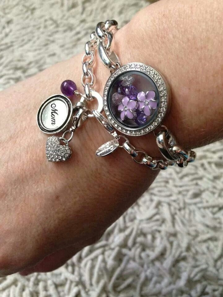 Layers! Origami Owl link locket bracelet layered with a dangle bracelet.  Beautiful gift for mom or grandma