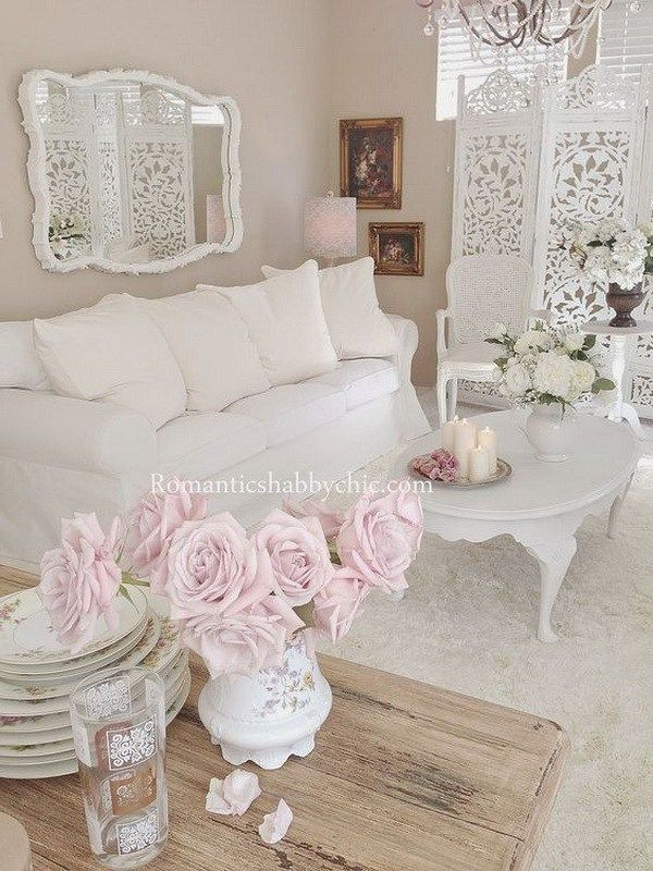 Romantic Shabby Chic Living Room Decorating With Pastel Fresh Flowers