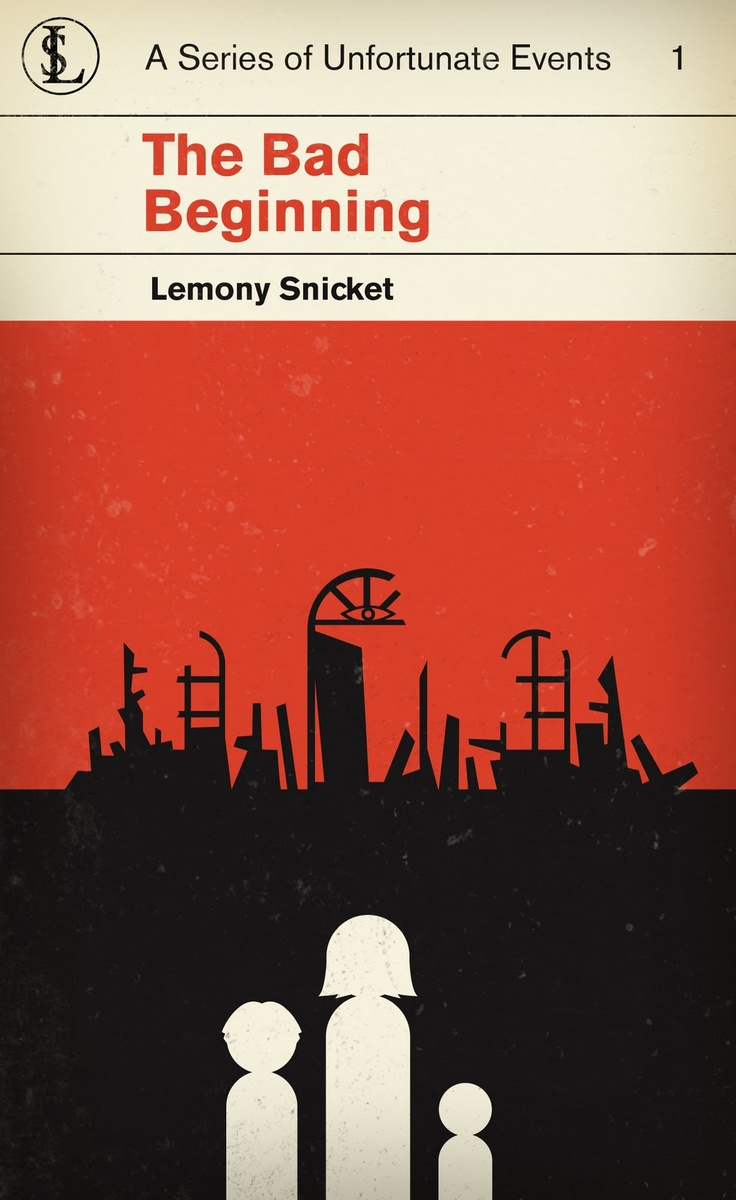 The Bad Beginning. M. S. Corley redesigned The Series of Unfortunate Events books to look like classic Penguin Books.