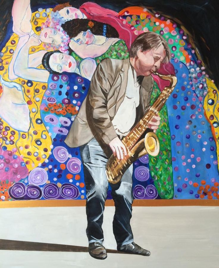 Saxofonistens musik bliver nydt . Baggrund frit efter Gustav Klimt :D