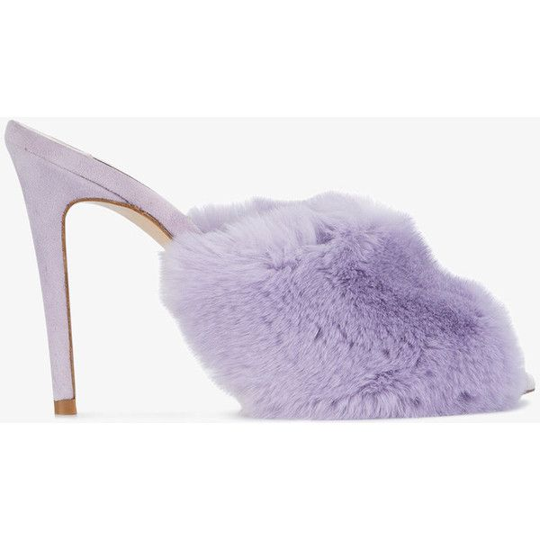 Natasha Zinko Lilac Fur 125 Mules ($755) ❤ liked on Polyvore featuring shoes, rabbit shoes, natasha zinko, purple shoes and purple sandals