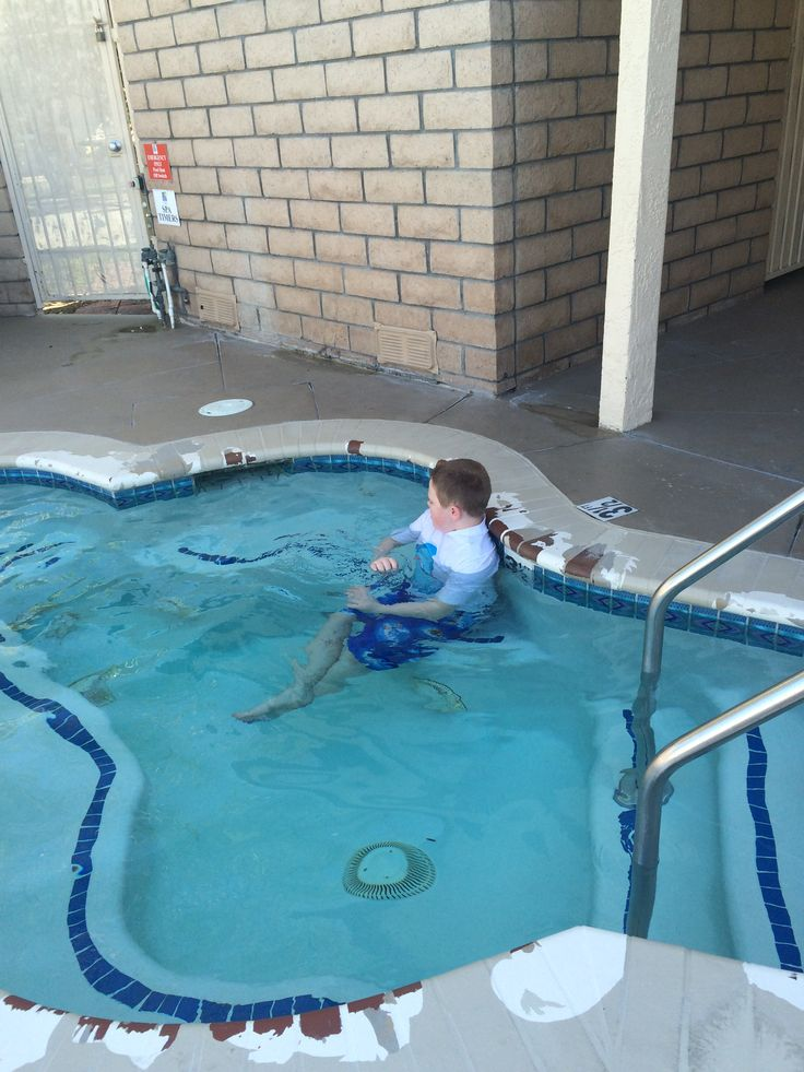 Adrian enjoying the hot tub in Anaheim, CA at the RV park.  We loved it.