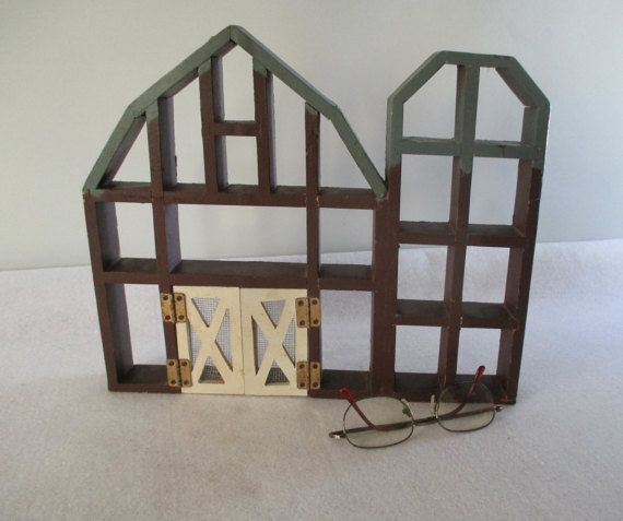 Wooden Barn and Silo Shaped Curio Shelf Vintage by HobbitHouse