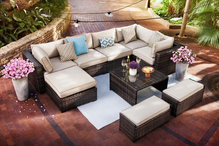 Our Regatta is STUNNING and perfect for your outdoor set-up. Live it up :)  http://www.valuecityfurniture.com/product/item/regatta-5-pc-outdoor-sectional-and-ottoman/1710686/1671621