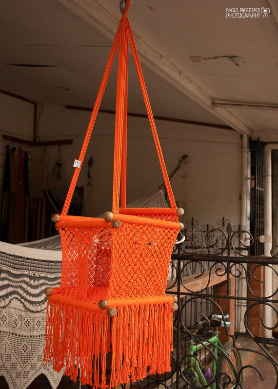 Baby Swing Chair in Macrame Soft Cotton Orange by HangAHammock