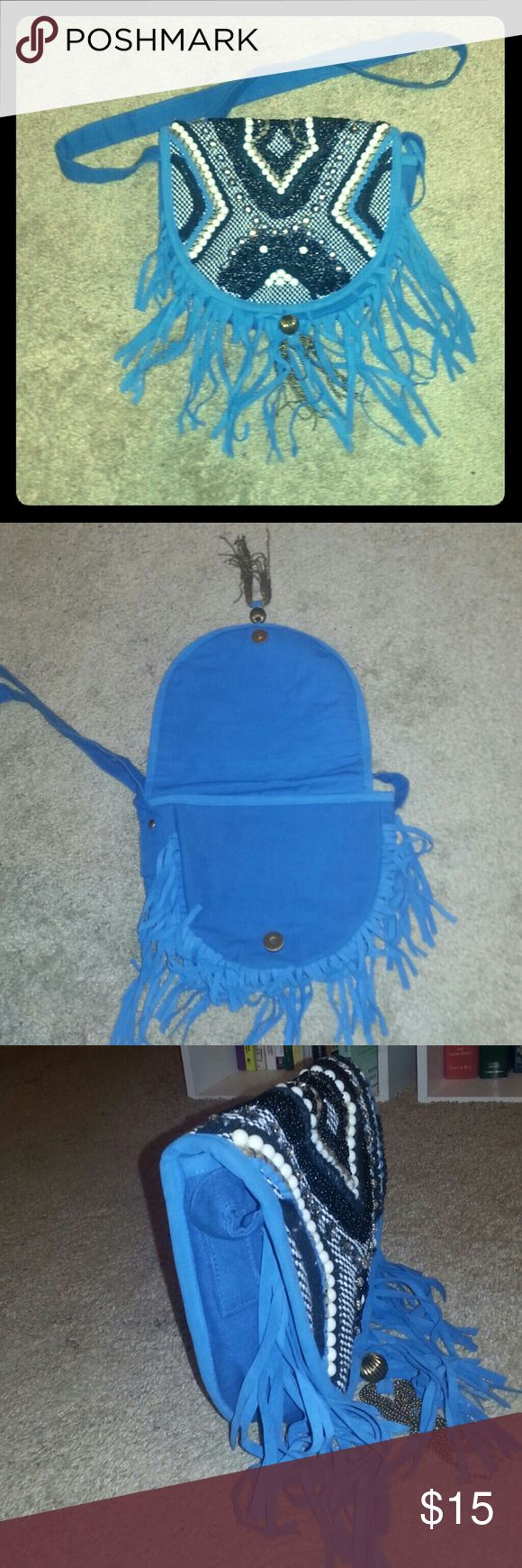 Beaded fringe bag 10in x 8in knit fabric with beautiful beading on the flap and an awesome tassel at the clasp. Great for festivals. earthbound Bags Crossbody Bags