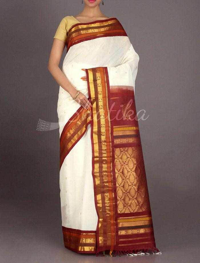 Sonia Old And Color Stripe Border Pure #GadwalSilkCotton Saree