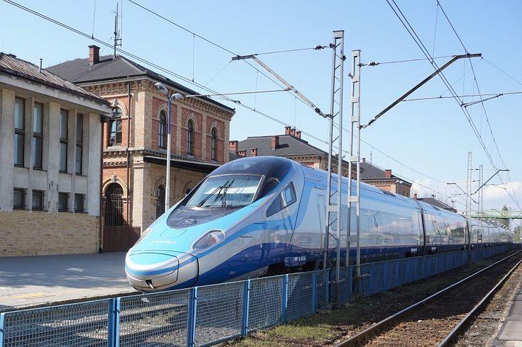 Pendolino train at the Bielsko-Biala's railway station. Poland