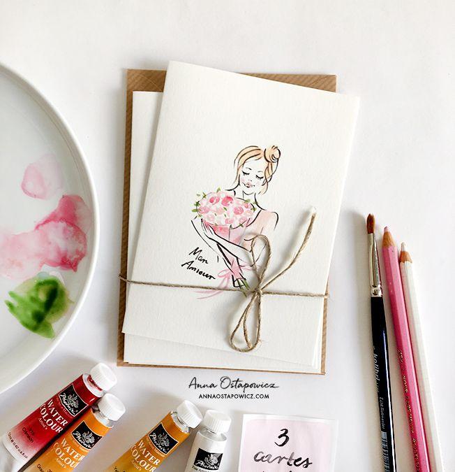 Mon Amour post card, Illustration Anna Ostapowicz, #postcard, #french, #illustration, #bouquet, #flowers, #parisian, #watercolor