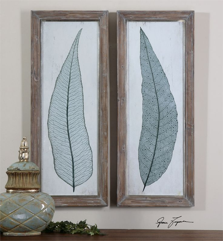 Uttermost tall leaves framed art set 2