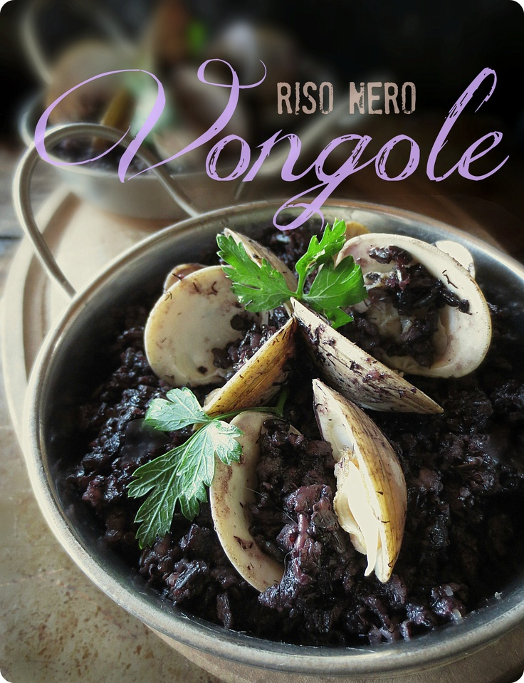 Riso Nero Vongole (Black Rise with Clams) A favorite that we had as part of our first course in Tuscany. Photo and recipe by Cathi Iannone of The Brooklyn Ragazza.