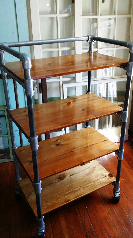 kitchen cart, rack, shelves, reclaimed wood, casters, pipe, kitchen storage, bar cart