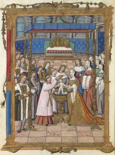 Baptême de st SIGEBERT par st AMAND de Troyes en présence de GAGOBERT et de st PEPIN DE LANDEN. Chroniques françaises. Guillaume Crétin, XVI°s.
