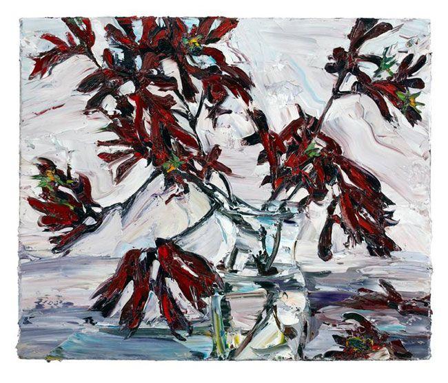 © Nicholas Harding ~ Still life (vase and kangaroo paws) ~ 2011 Oil on Belgian linen at Olsen Irwin Gallery Sydney Australia