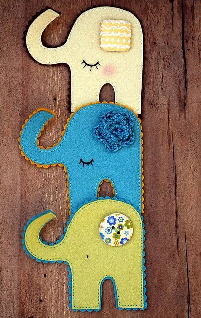 by made by agah, via Flickr kitsch retro scandi style 70's felt elephant brooch design
