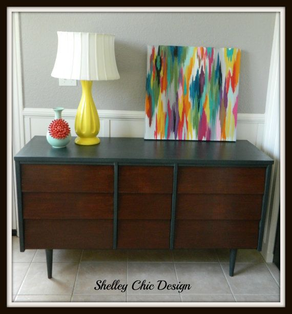 SOLD Mid Century Modern Dresser Painted Charcoal With Dark Stain