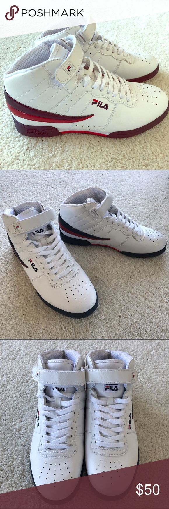 FILA F-13 mid sneakers in white, red & blue Original and classic Fila sneakers, only worn once aka as good as new. UK size 6, translates to US size 8, super comfy and add a gorgeous look to any outfit. Fila Shoes Sneakers