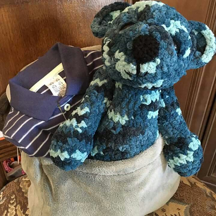 A handmade gift for my new nephew....Xavier the bear can't wait for the many adventures they'll have together!
