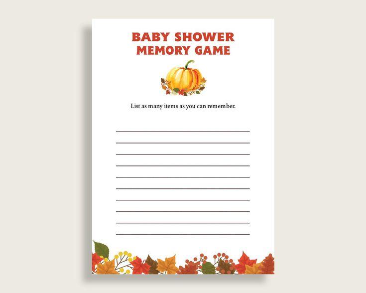 Memory Game Baby Shower Memory Game Fall Baby Shower Memory Game Baby Shower  Pumpkin Memory Game