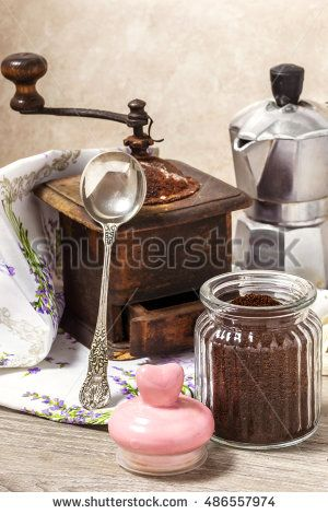 coffee break concept with vintage tools and coffee powder
