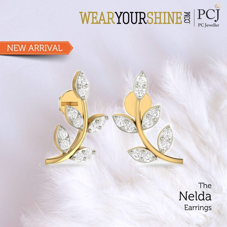 "Go eco-friendly this season as you flaunt these leaf-designed ""Nelda Earrings"" by WearYourShine  #Earrings #InstaJewellery #Jewellery #jewelry #PCJeweller #WearYourShine"