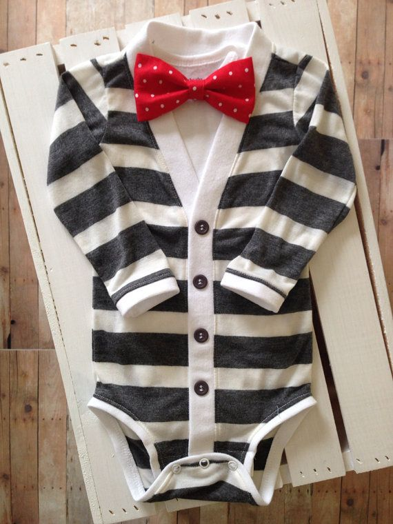 Baby Cardigan Onesie: Gray and Ivory Stripe with Interchangeable Tie Shirt and Bow Tie