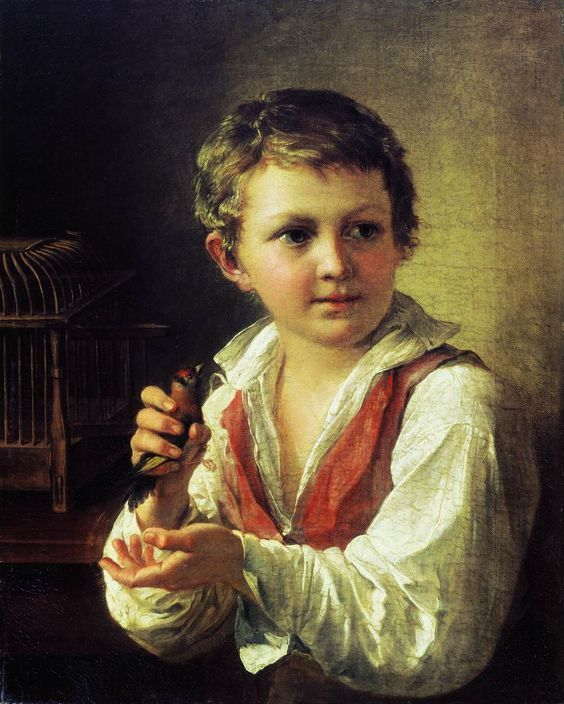 Vasily Tropinin (1776 - 1857) boy with Goldfinch: