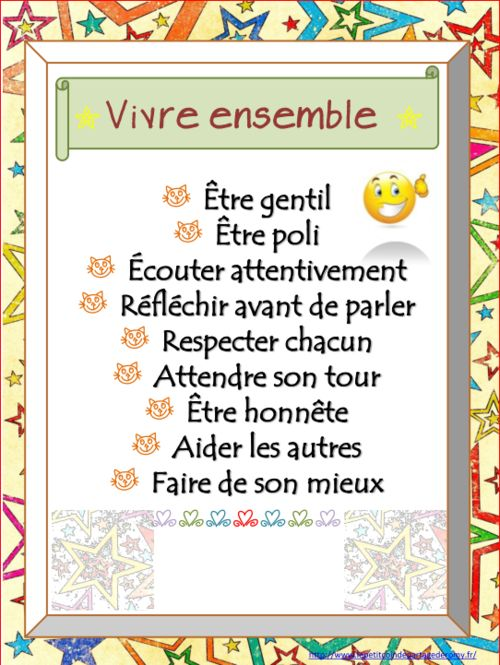 affichage vivre ensemble : turn into a small book with drawings of how to do each thing