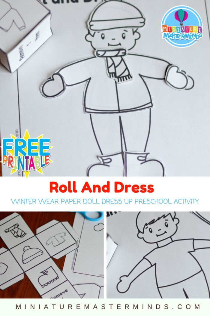 Roll And Dress Winter Wear Preschool Roll The Dice Dress Up Paper Doll Coloring Page Activity Still playing on all the snow excitement with this roll and dress activity. Dress the little boy for wi…