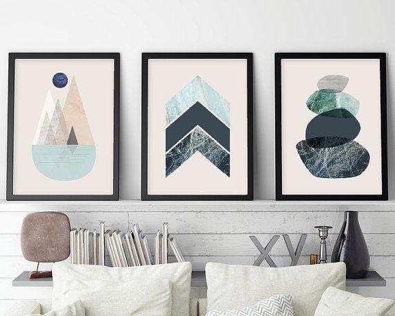 Set of 3 Prints, Minimalist Posters, Minimalist, Scandinavian, Scandinavian Modern,  Print Scandi, Scandinavian Print, Mountains, Chevron